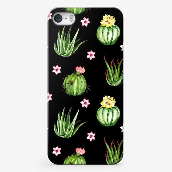 Чехол iPhone «Безшовный акварельный паттерн с кактусами и цветами»