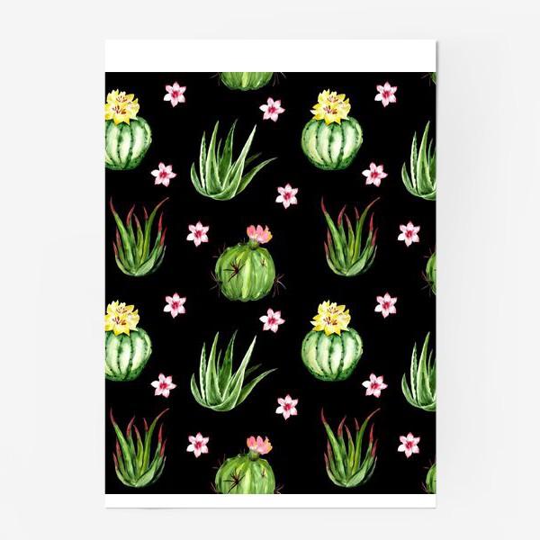 Постер «Безшовный акварельный паттерн с кактусами и цветами»