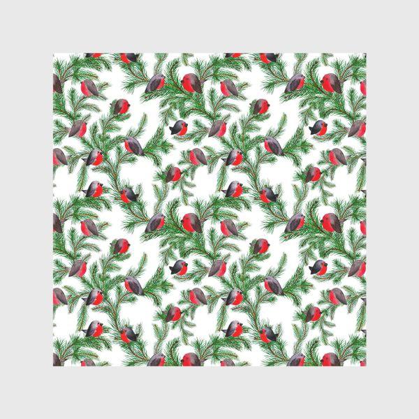 Скатерть «Паттерн снегири на еловых ветках»