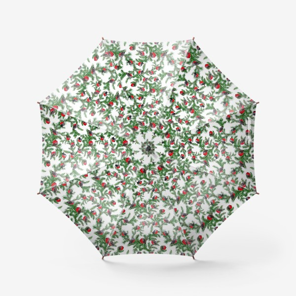 Зонт «Паттерн снегири на еловых ветках»