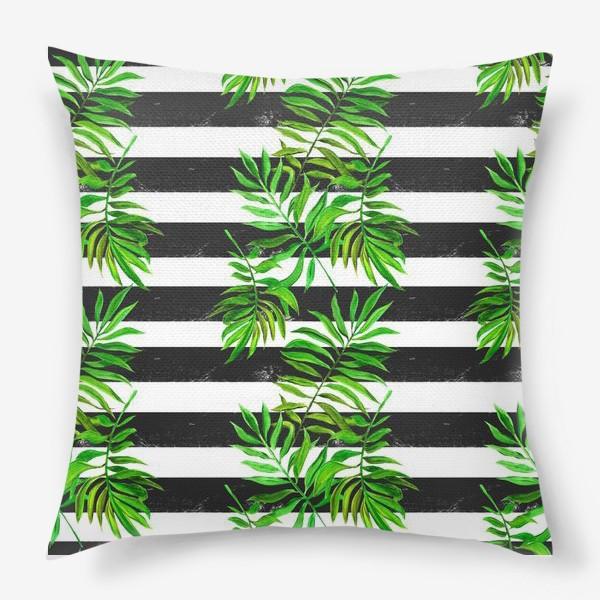 Подушка «тропики. паттерн с листьями»