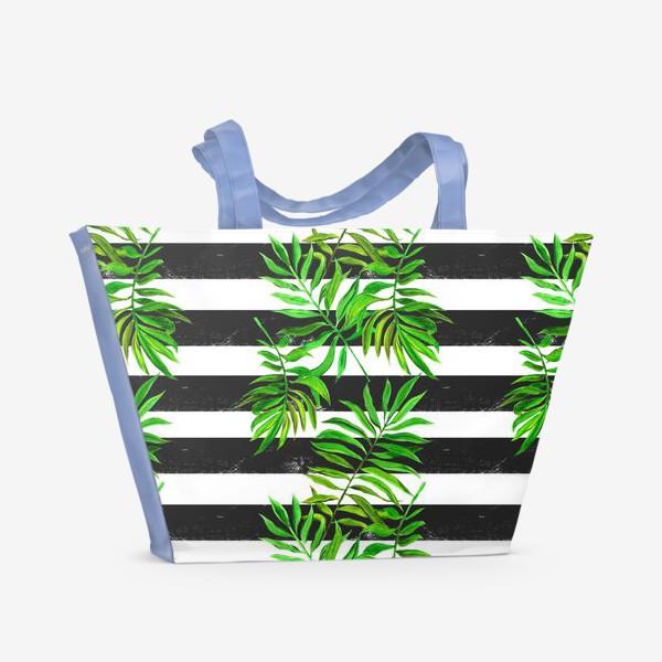 Пляжная сумка «тропики. паттерн с листьями»