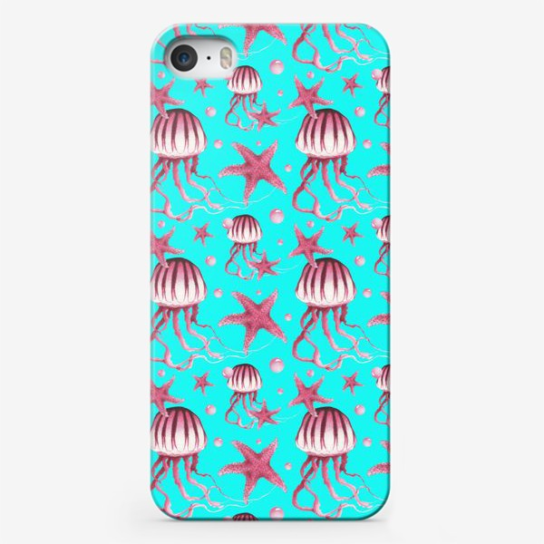 Чехол iPhone «Акварельный паттерн с медузами и морскими звездами на бирюзовом фоне»