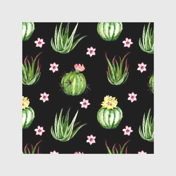 Скатерть «Безшовный акварельный паттерн с кактусами и цветами»