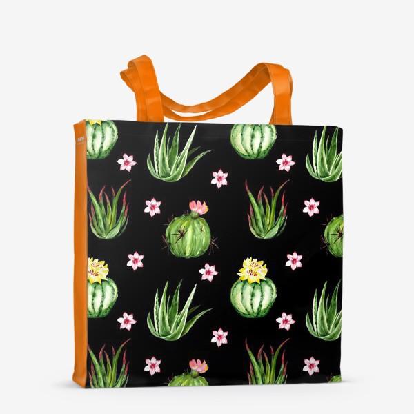 Сумка-шоппер «Безшовный акварельный паттерн с кактусами и цветами»
