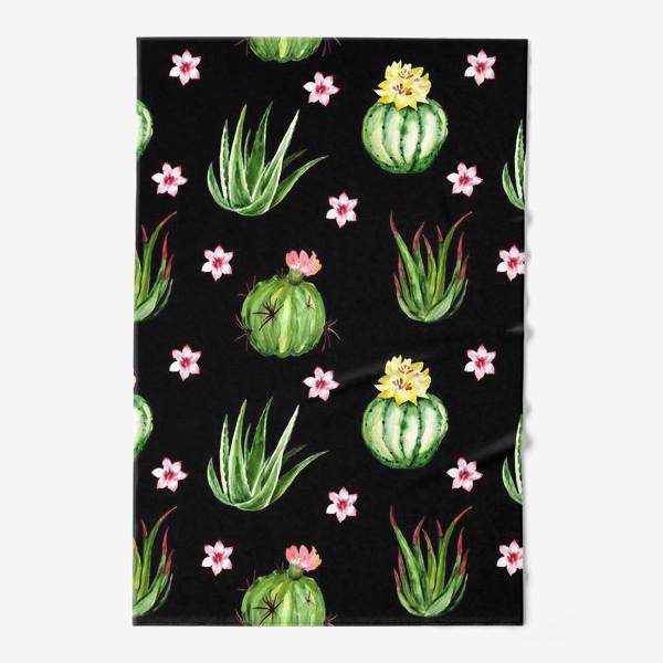 Полотенце «Безшовный акварельный паттерн с кактусами и цветами»