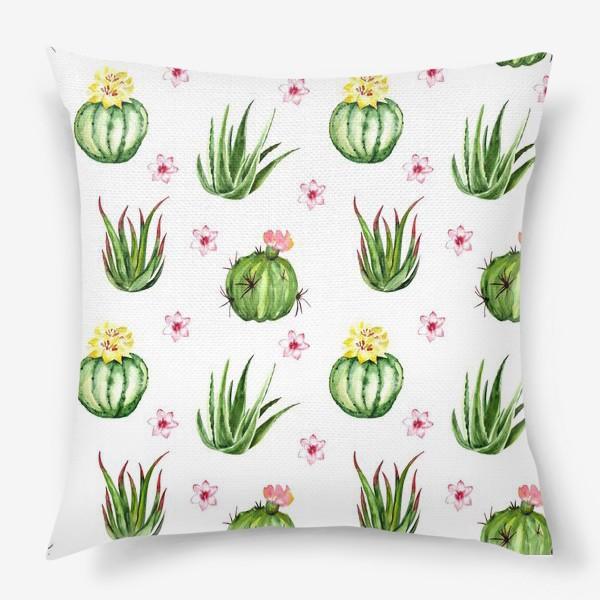 Подушка «Безшовный акварельный паттерн с кактусами и цветами»