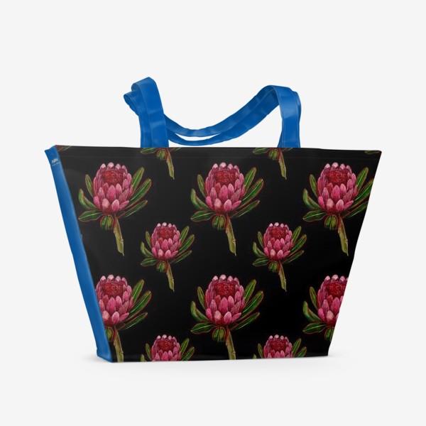Пляжная сумка «Паттерн протея на черном фоне»