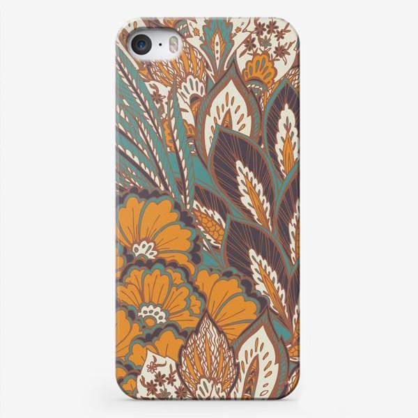 Чехол iPhone «Восточный растительный орнамент в осенней палитре»