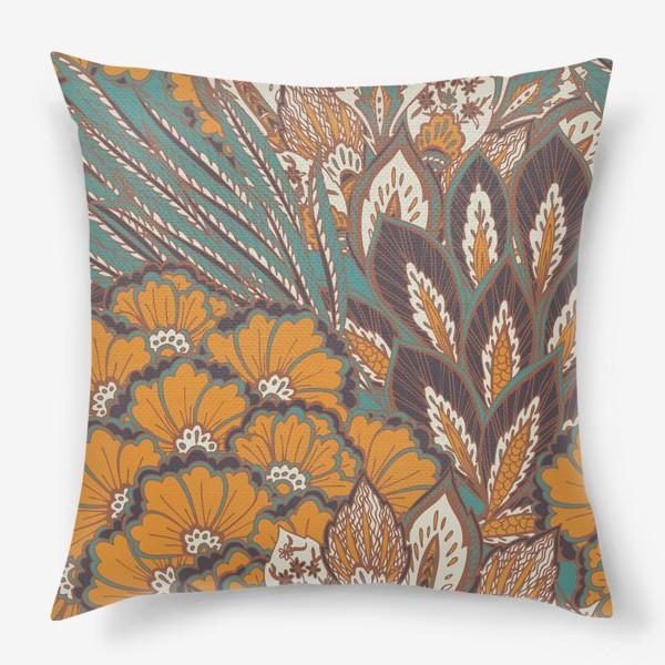 Подушка «Восточный растительный орнамент в осенней палитре»