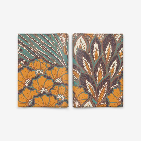Обложка для паспорта «Восточный растительный орнамент в осенней палитре»