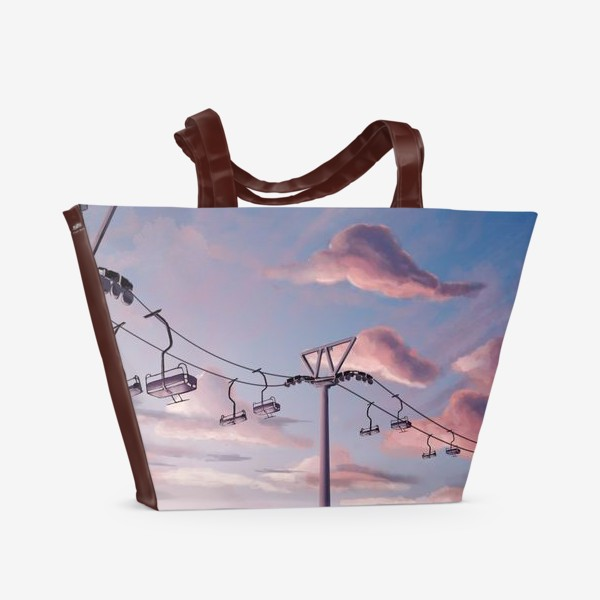 Пляжная сумка «Канатная дорога, Закат, Небо»