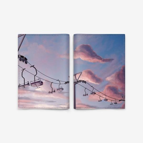 Обложка для паспорта «Канатная дорога, Закат, Небо»