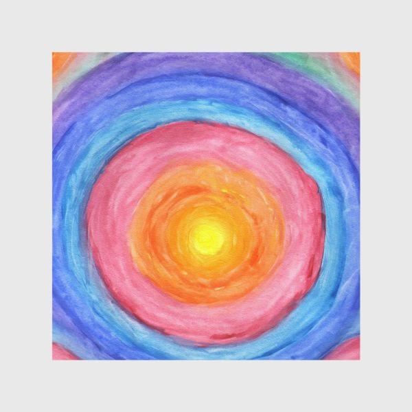 Шторы «Акварельная геометрическая абстракция солнечный круг»