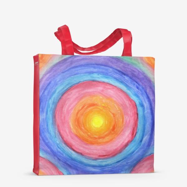 Сумка-шоппер «Акварельная геометрическая абстракция солнечный круг»