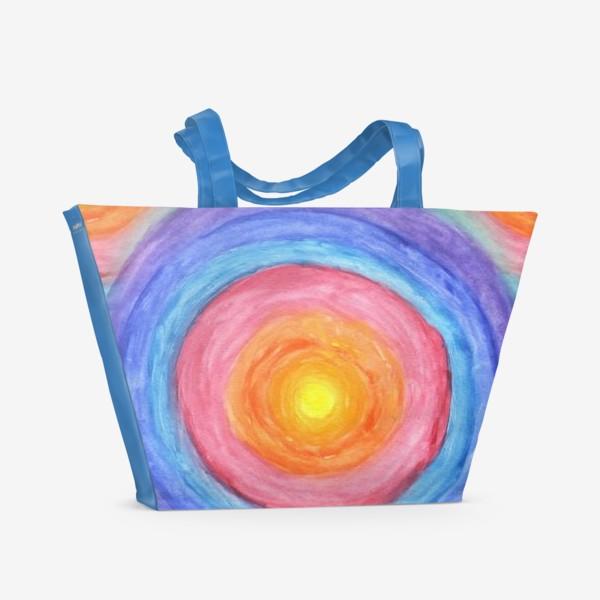 Пляжная сумка «Акварельная геометрическая абстракция солнечный круг»
