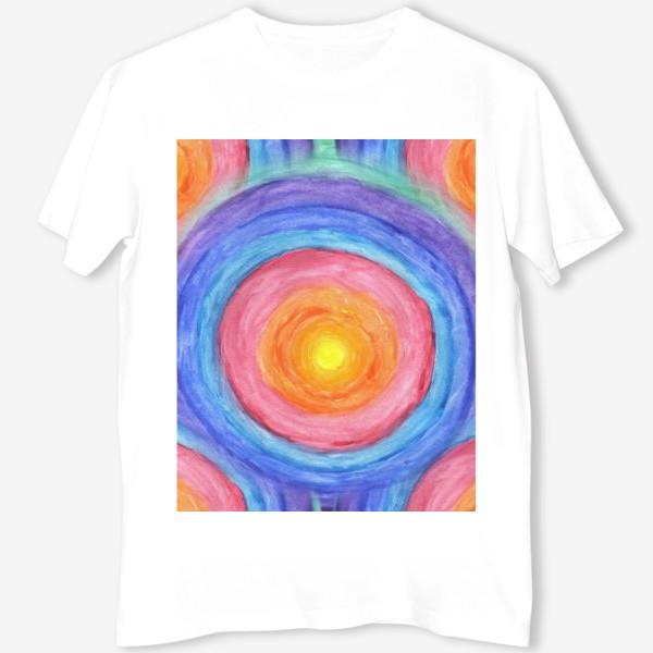Футболка «Акварельная геометрическая абстракция солнечный круг»
