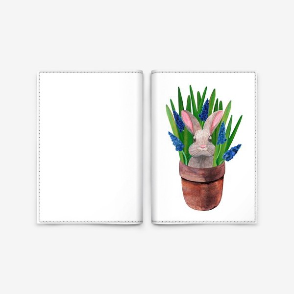 Обложка для паспорта «Милый кролик в горшке с весенними мускари»