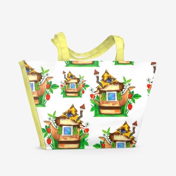 Пляжная сумка «весенние домики»