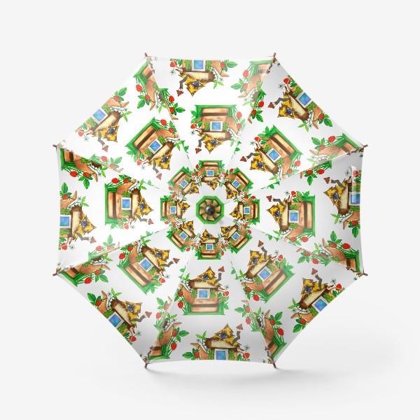 Зонт «весенние домики»