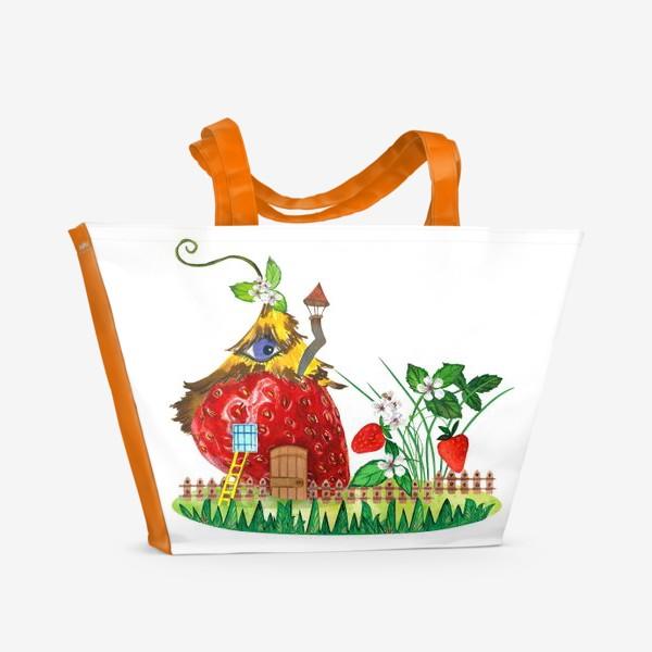 Пляжная сумка «земляничный домик»