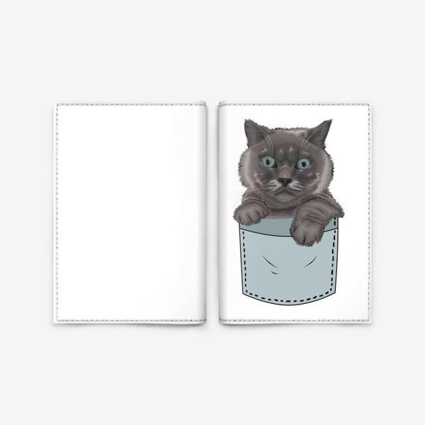 Обложка для паспорта «Кот в кармане»