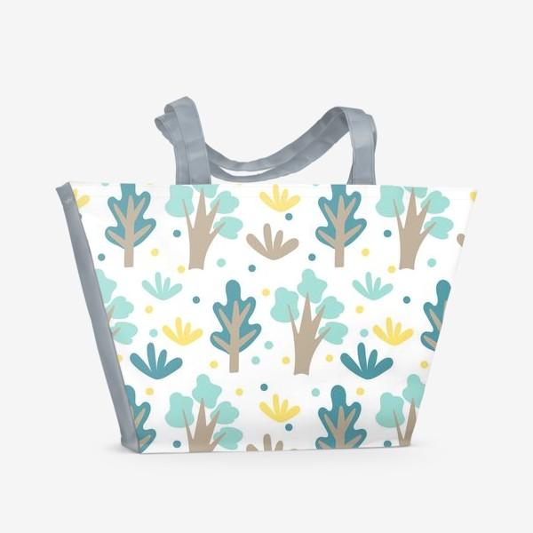 Пляжная сумка «Мультяшный лес в Скандинавском стиле»