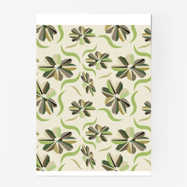Постер «abstract seamless floral pattern exotic shapes»