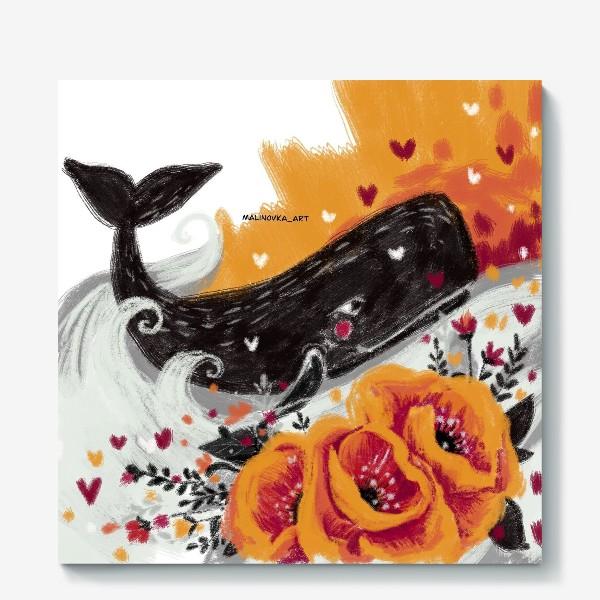 Холст «кит в цветах»