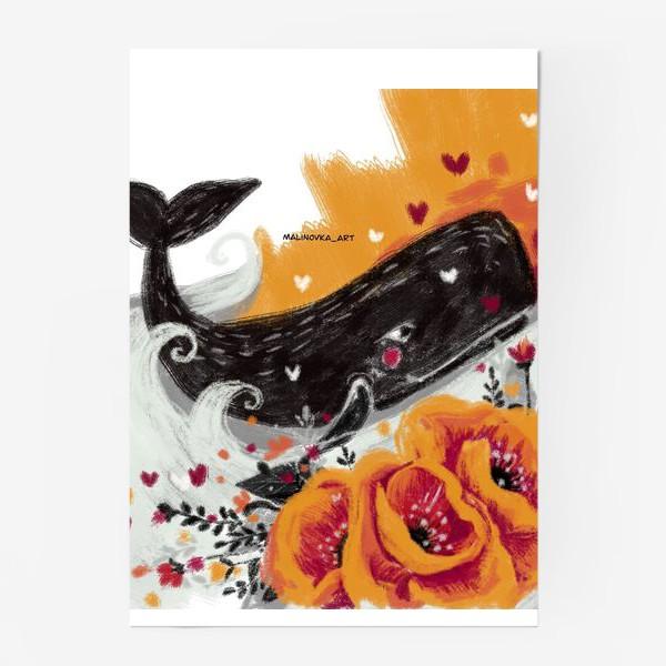 Постер «кит в цветах»