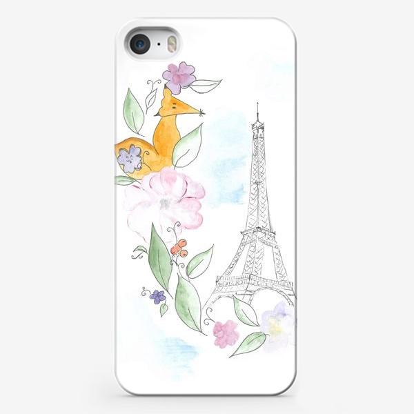Чехол iPhone «Лис и Эйфелева башня»