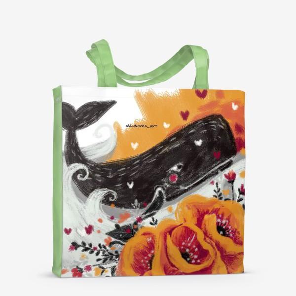 Сумка-шоппер «кит в цветах»