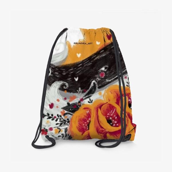 Рюкзак «кит в цветах»