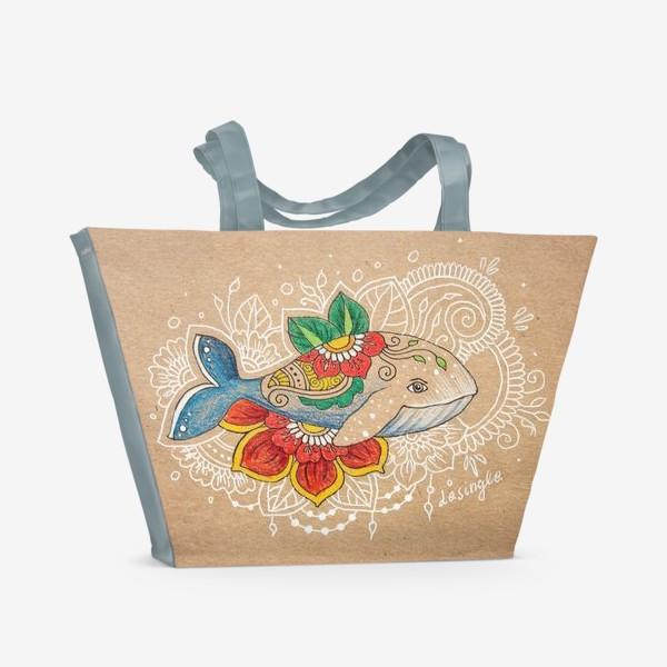 Пляжная сумка «Цветочный кит»