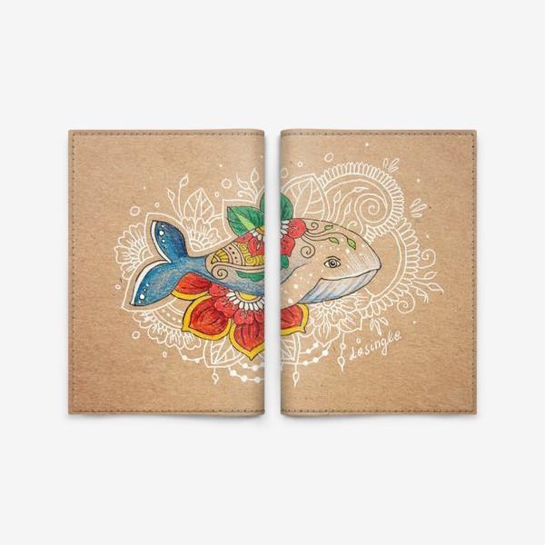 Обложка для паспорта «Цветочный кит»