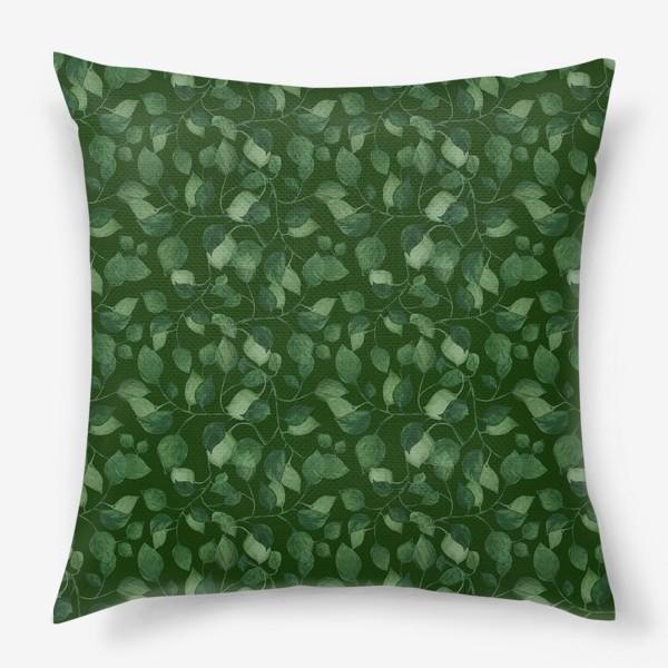 Подушка «Природа растения листочки зелень эко паттерн»