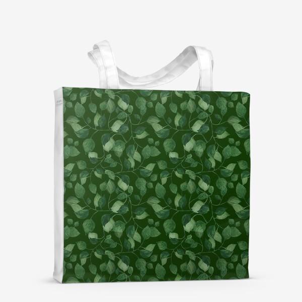 Сумка-шоппер «Природа растения листочки зелень эко паттерн»