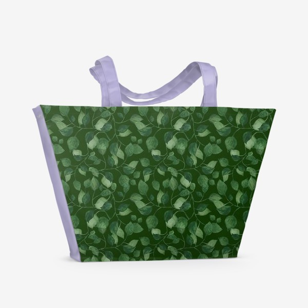 Пляжная сумка «Природа растения листочки зелень эко паттерн»