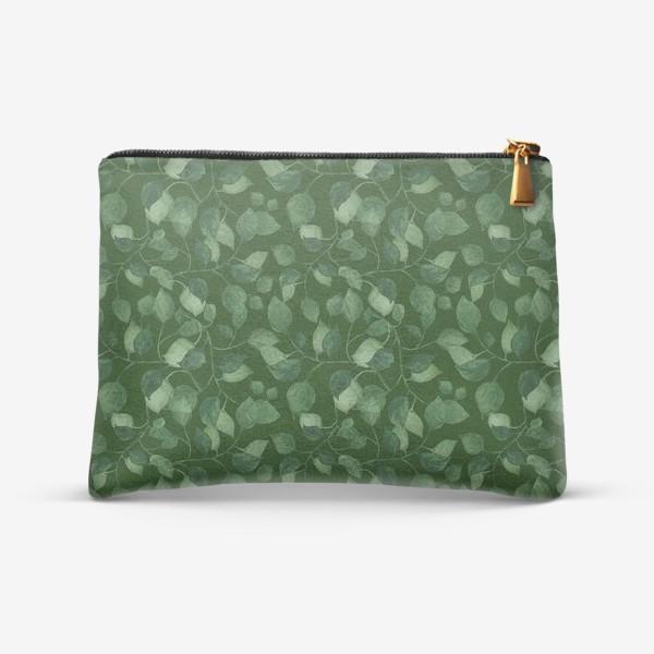 Косметичка «Природа растения листочки зелень эко паттерн»