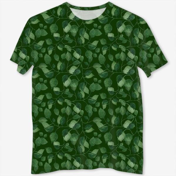 Футболка с полной запечаткой «Природа растения листочки зелень эко паттерн»