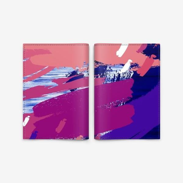 Обложка для паспорта «Абстракция синяя лиловая»