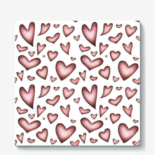 Холст «Винтажные сердечки»