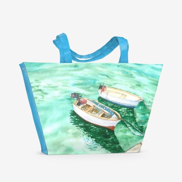 Пляжная сумка «Рыбацкие лодки на море»