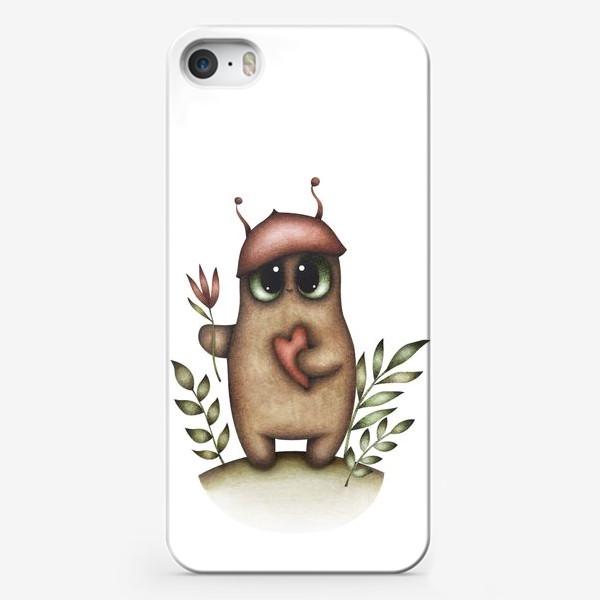 Чехол iPhone «Сказочный персонаж с сердцем и цветком»