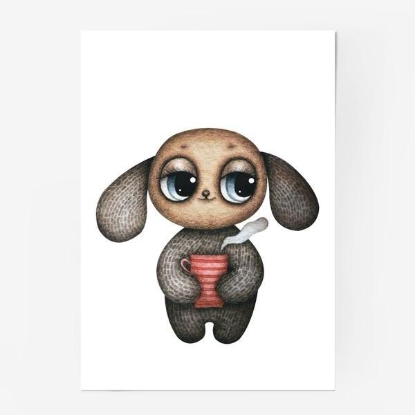 Постер «Милый и смешной глазастик с кружкой чая»