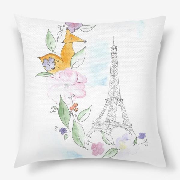 Подушка «Лис и Эйфелева башня»