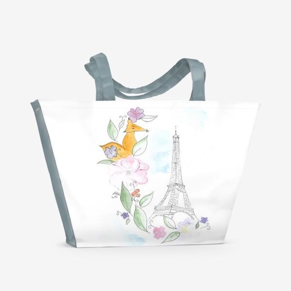 Пляжная сумка «Лис и Эйфелева башня»