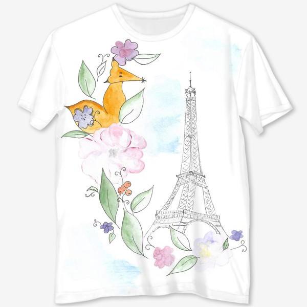 Футболка с полной запечаткой «Лис и Эйфелева башня»
