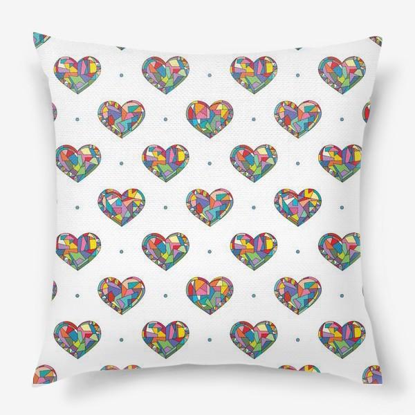 Подушка «Геометрические сердечки»