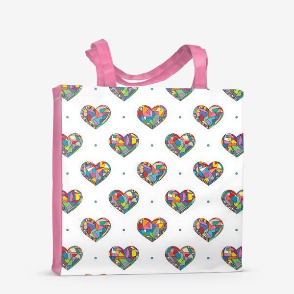Сумка-шоппер «Геометрические сердечки»